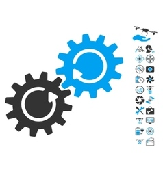 Gear mechanism rotation icon with air drone tools vector