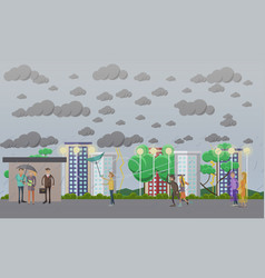 stormy windy and rainy weather concept vector image