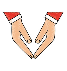 color pencil front view hands touching with sleeve vector image