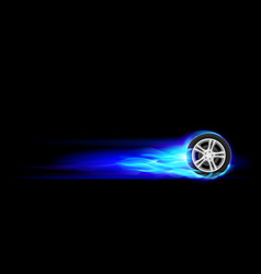 Blue burning wheel on black background vector