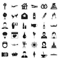 wedding celebration icons set simple style vector image