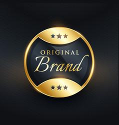 Original brand golden label design vector