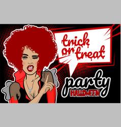 Pop art halloween vampire sexy woman vector