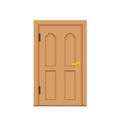 Classic wooden entrance door closed elegant door vector