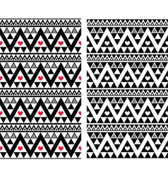 Tribal aztec colorful seamless pattern with heart vector image
