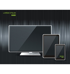 Realistic tablet computer monitor and mobile phone vector image