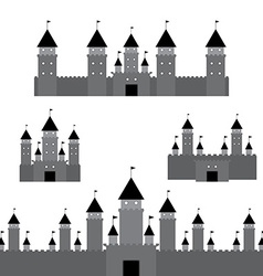 Set black castle on white background vector