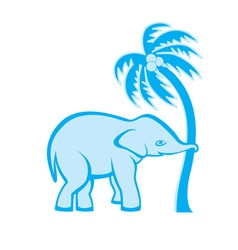 Elephant pulling palm vector
