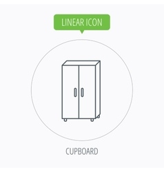 Cupboard icon wardrobe furniture sign vector