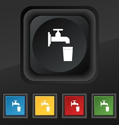 Faucet glass water icon symbol set of five vector
