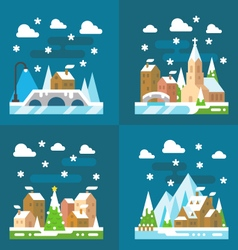 Snowy village christmas flat design vector