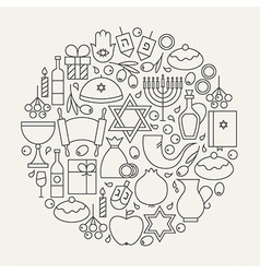 Happy hanukkah holiday line icons set circular vector