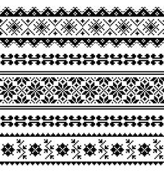 Ukrainian Belarusian folk art embroidery pattern vector image