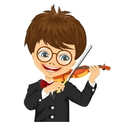Cute boy playing violin vector