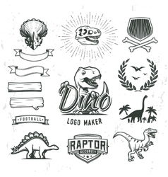 Dino logo maker set Dinosaur logotype creator vector image
