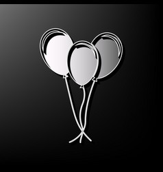 Balloons set sign gray 3d printed icon on vector