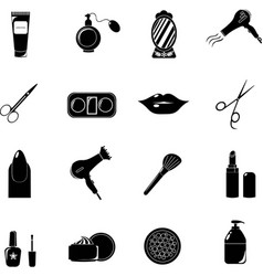 Beauty salon set of black icons new business vector