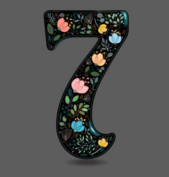 Black glared number seven with watercolor flowers vector