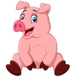cartoon happy pig sitting vector image vector image