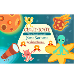 certificate for a teaching game or a childrens vector image