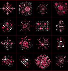Collection of bauhaus retro red wallpapers art vector