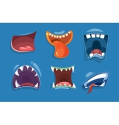 Cute monster mouths set vector