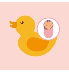 Cute newborn girl on pink blanket and rubber duck vector