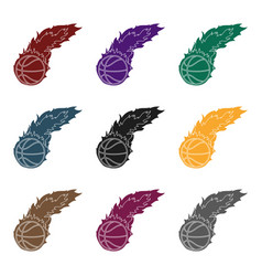 fireballbasketball single icon in black style vector image