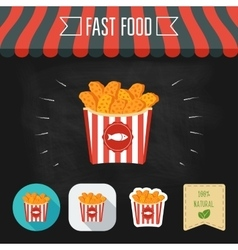 Fish nuggets icon on a chalkboard Set of icons vector image vector image