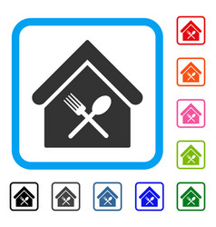 Food court framed icon vector