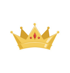 golden ancient crown with red precious stones vector image vector image