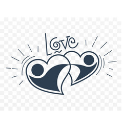 hand holds two loving hearts black and white i vector image