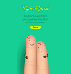 happy friendship day finger card vector image