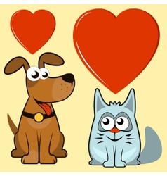Isolated dog and cat lovers vector