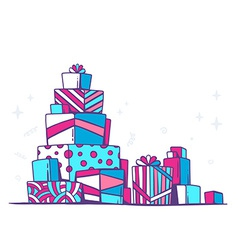 large pile of red and blue gifts standing vector image