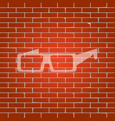Modern glass sign whitish icon on brick vector
