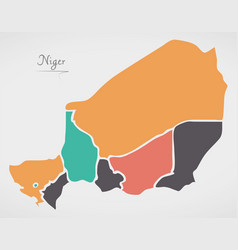 Niger map with states and modern round shapes vector