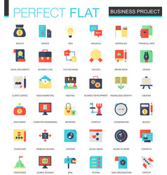 set of flat business project icons vector image vector image