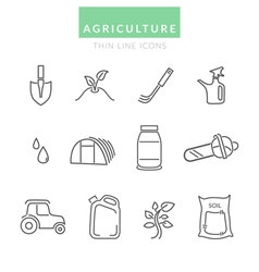 Set with agriculture thin line icons vector