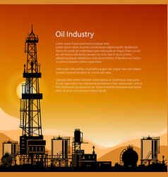Silhouette drilling rigs and text vector