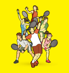 tennis players men and women action vector image