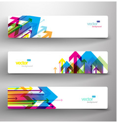 Three abstract colorful arrows background banners vector