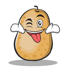 Tongue out with wink potato character cartoon vector