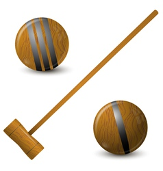 Wooden hammer and croquet balls vector