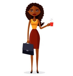 African american businesswoman enjoying coffee vector