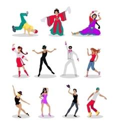 Set of dancing peoples flat vector
