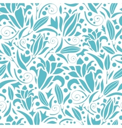 Blue lily silhouettes seamless pattern background vector