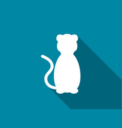 Cat flat icon with long shadow lion vector