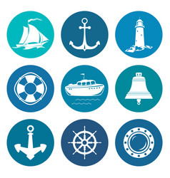 Set of round marine travel icons vector