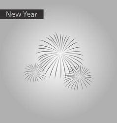 Black and white style icon of firework vector